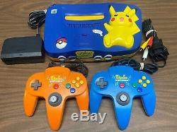 Nintendo 64 N64 Pokemon Pikachu Retro Video Game Console 2 Controllers Super Fun