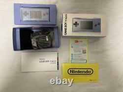 Nintendo GameBoy Micro Blue Japan retro video game console with Box