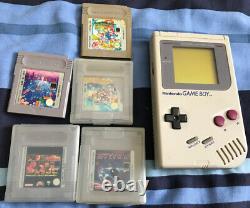 Nintendo Original Game Boy Handheld Console DMG-01 1989 Retro Charger & 5 Games
