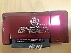Nintendo Gameboy Micro 20th Anniversary Retro Game & 2games & Charger Set Japon