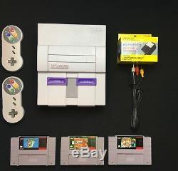 Super Nintendo Console Originale Retro Snes Système + Jeu Choix Mario / Ane