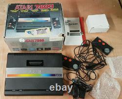 Vgc Atari 7800 Retro Original Game Console En Box + Psu + Manuel +2 Contrôleurs