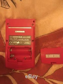 Vintage 1ère Édition Nintendo Game Boy Console Couleur Rose Foncé Rouge Rétro Pokemon