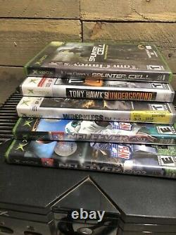 Xbox Original Retro Console De Jeu Vidéo Complète Avec 5 Jeux A Besoin De Nettoyage Fonctionne